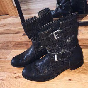 J. Crew Pebbled Leather Moto Boots